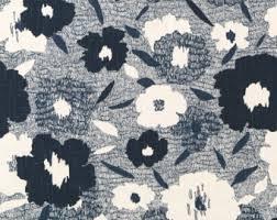 Blue Home Decor Fabric Navy Blue Floral Linen Fabric By The Yard Navy Blue Floral