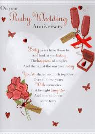 anniversary greeting cards ruby 40th anniversary greeting card cards kates
