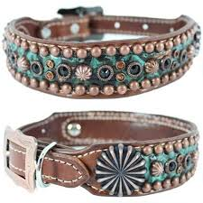 swarovski crystal dog necklace images A brown and turquoise western leather dog collar featuring jpg