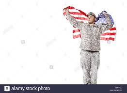 Army Ranger Flag Us Army Ranger With American Flag Stock Photo Royalty Free Image