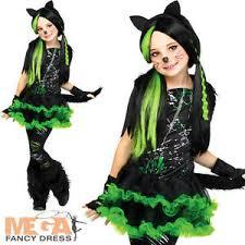 Kids Cat Halloween Costume Cool Cat Girls Fancy Dress Halloween Kitten Kitty Cyber Goth Kids