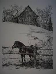 horse fence u0026 ink print gene matra ink drawings