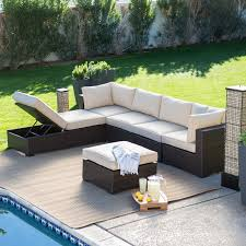 Patio Chairs With Cushions Belham Living Monticello All Weather Outdoor Wicker Sofa Sectional