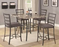 granite top round pub table chic stainless steel counter height bar stools with comfy pad