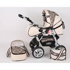 poussette siege auto bebe poussette bébé naissance combinée 3 en1 crème et marron avec