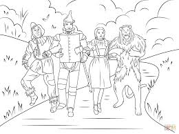 scarecrow tin man dorothy and cowardly lion coloring page free