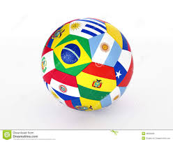 South America Flags Soccer Ball With Flags Of The Countries Of South America Stock