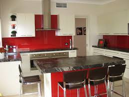 Red Kitchen With White Cabinets Red Splash Back With Black Benchtop Island And White Cabinets