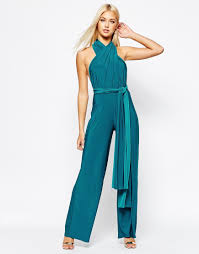 teal jumpsuit lyst missguided multiway jumpsuit in blue