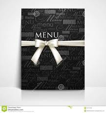 restaurant menu design with white bow and ribbon stock photos