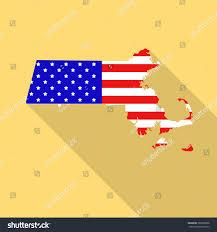 Flag Of Massachusetts Massachusetts State Map Style Usa National Stock Vector 365288090