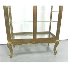 Antique Brass Display Cabinet Mid Century Brass U0026 Glass Curio Display Cabinet