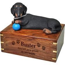 dog urns pet urns dachshund black figurine wooden urn with