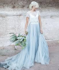 Wedding Dresses Light Blue Light Blue Wedding Gown White Lace Sheer Detachable Jacket Crop