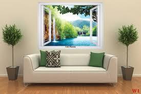 mural window view with waterfall laguna 3 colours wallpapers mural window view with waterfall laguna 3 colours