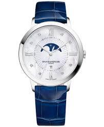 baume u0026 mercier women u0027s swiss classima diamond accent blue leather