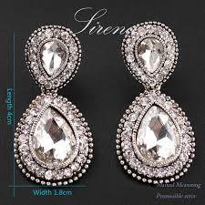 silver dangle earrings for prom ec065 luxury austrian cz big rhinestone vintage silver