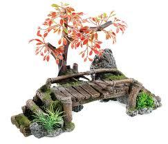 wooden bridge with tree aquarium ornament fish cave vivarium