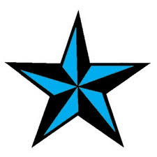 black and blue ink nautical star tattoo design