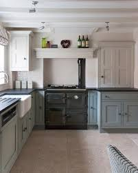 a rayburn cooker in pewter sits at the heart of this hand painted
