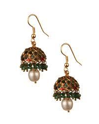 jhumki style earrings buy jhumki style gold plated pearl earrings online india voylla