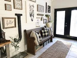 entryway table and bench backroadsignco on instagram black and white foyer entry farmhouse