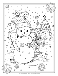 free christmas coloring page cute snowman with children owls and