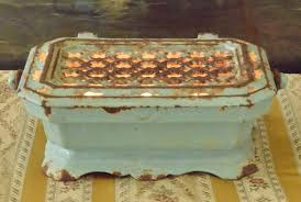 b830 superb antique french enamelled cast iron foot warmer