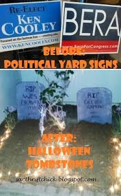 how to upcycle political yard signs into halloween tombstones