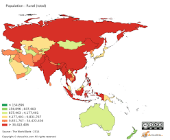 Oceania Map Asia And Oceania Population Rural Total By Country 2016