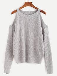 open shoulder sweater shop grey open shoulder knit sweater shein offers grey