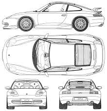 1999 porsche 911 996 gt3 coupe blueprints free outlines