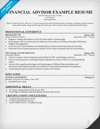 Financial Advisor Resume Example by Certified Financial Planner Resume Financial Advisor