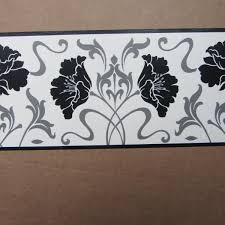 modern floral damask black white wallpaper border self adhesive