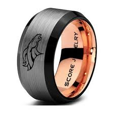 denver wedding band 10mm black tungsten band with beveled edge and brushed finish nfl