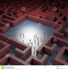 tiny people lost in maze illustration 24078068 megapixl
