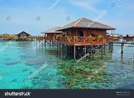 stilt houses sipadan mabul resort malaysia stock photo 156901028
