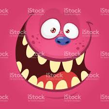 cartoon monster face isolated vector halloween pink happy monster