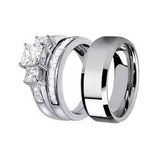 his and hers engagement rings his hers lovely 3pcs tungsten men s matching band sterling