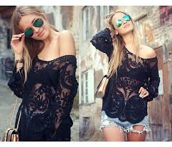 black crochet lace mesh long sleeve blouse on luulla