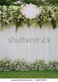 wedding backdrop green beautiful white green backdrop flowers arrangement stock photo