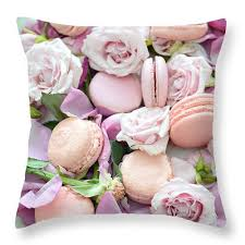 french macarons roses throw pillow shabby chic paris roses