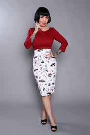 high waisted pencil skirt pencil skirt in juvenile delinquent print pinup girl