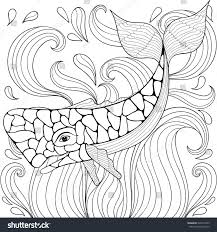 zentangle whale waves freehand sketch stock vector 526314769