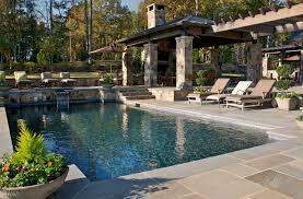 exterior design rustic pool design with outdoor furniture and