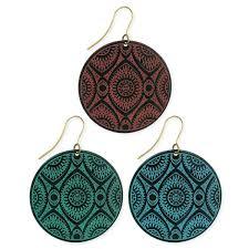 zad earrings zad black metal etched enamel circle drop earrings simplily co