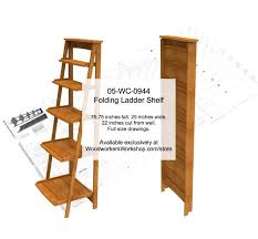 Woodworking Shelf Plans by 05 Wc 0944 Folding Ladder Shelf Woodworking Plan
