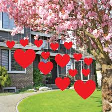 s lawn decorations hanging hearts set of