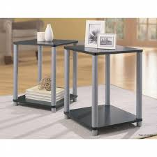 essential home end tables in black and silver 2 table set shop