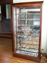 3 door display cabinet solid wood display cabinet material come with 3 tier glass shelf